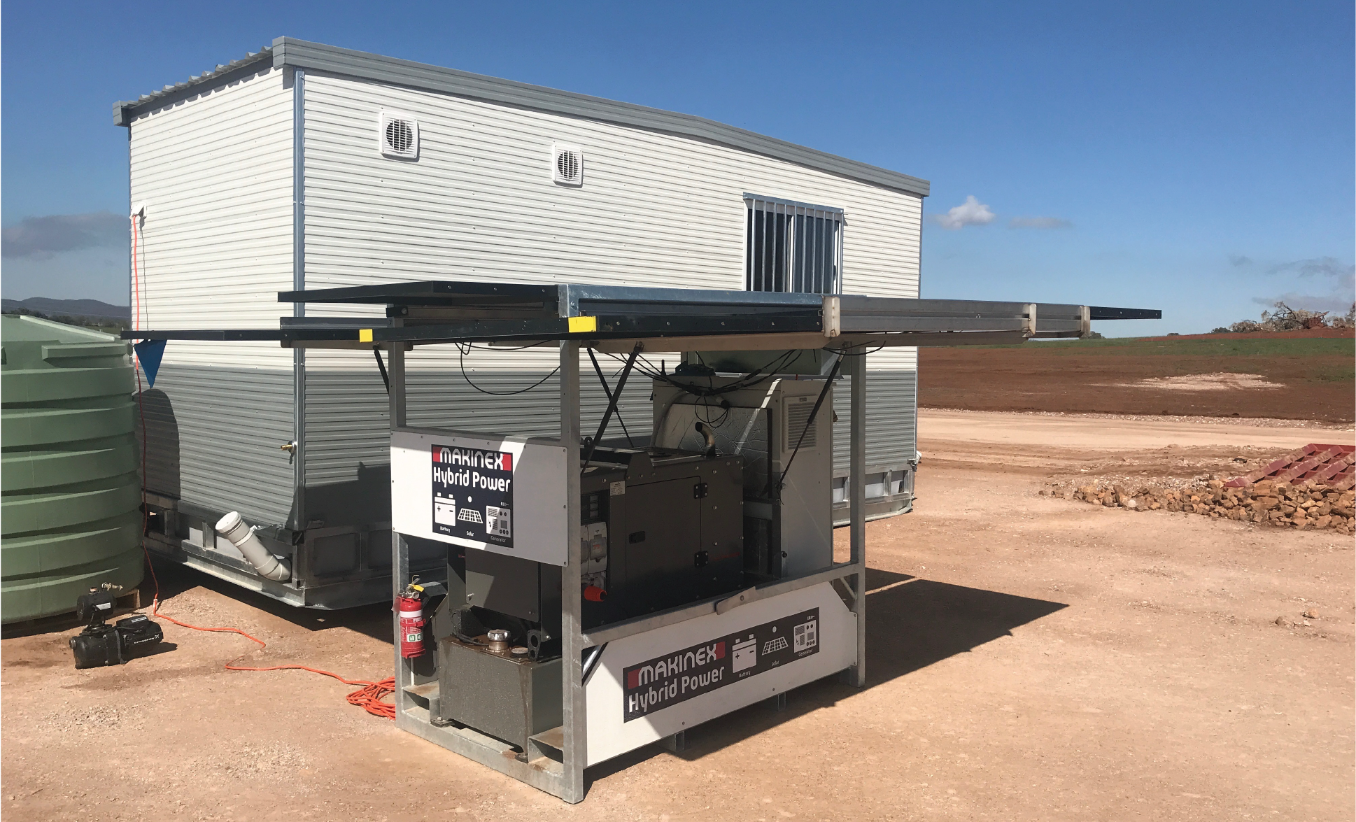 Makinex provides clean & easy to deploy power to remote construction site shed in Wellington, NSW.